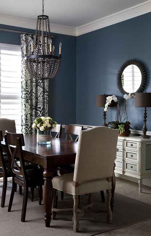 Before after open plan dining room entry heather for Dining room ideas in blue