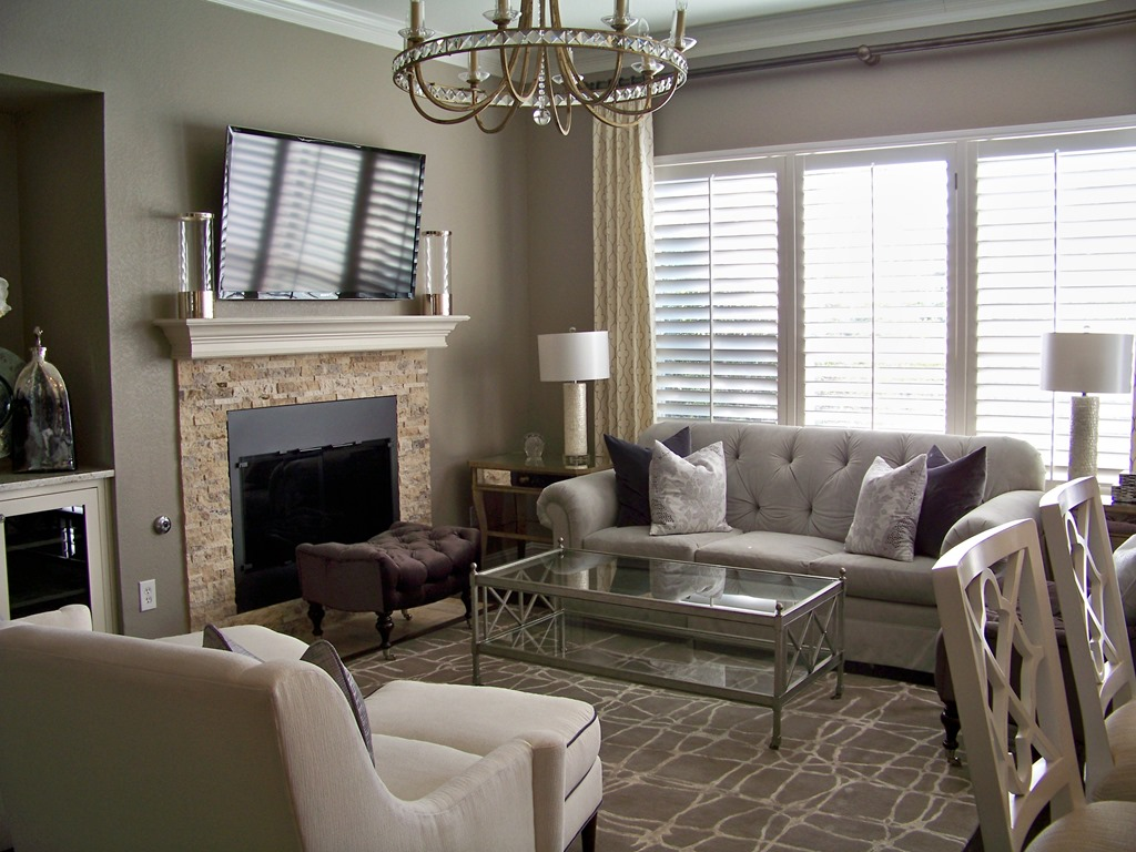 Interior Design Chic Family Room, Sofa And Chairs And Metal Coffee Table