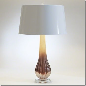 Studio A amber ribbed art glass lamp