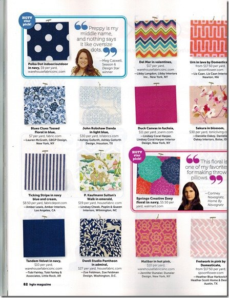 HGTV fabric article, May