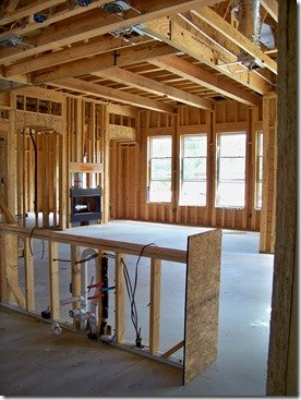 Kitchen and family room before