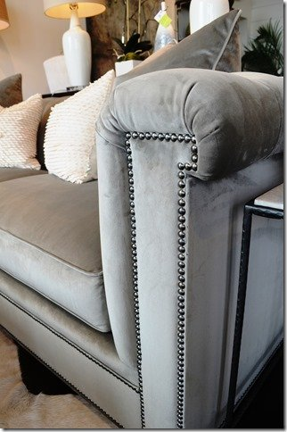 antique nickel nail head trim on velvet sofa