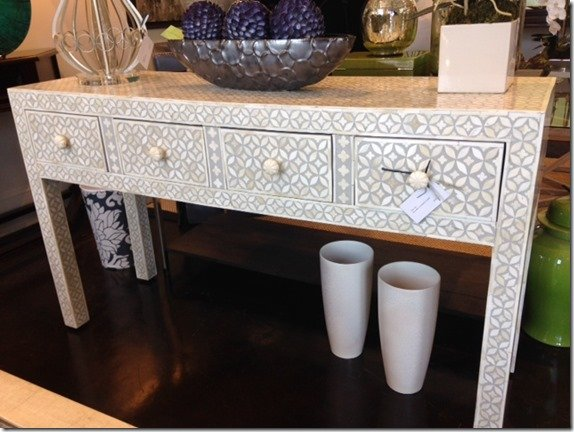 bone console with gray and ivory pattern