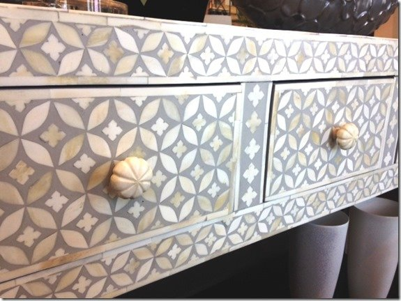 close up of drawers on console