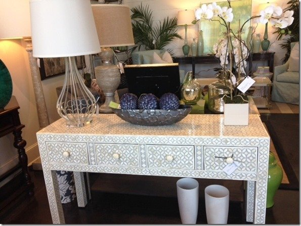 gray and ivory bone inlay console