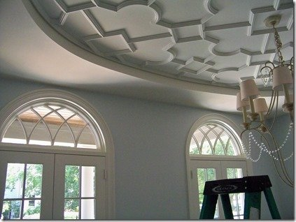 heather scott dining room with door and ceiling treatment