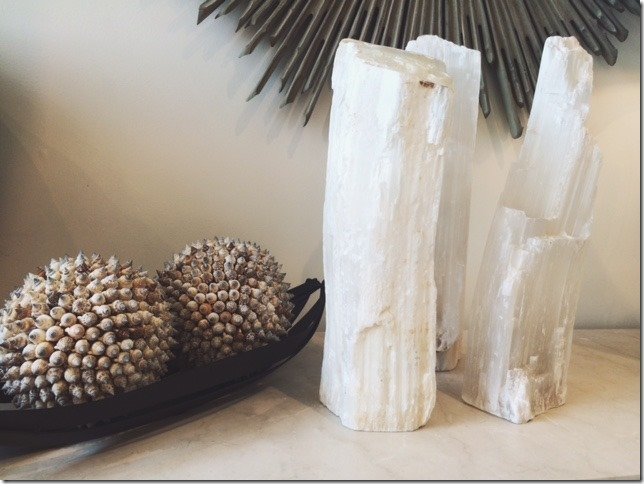 selenite crystal fire logs, vertical