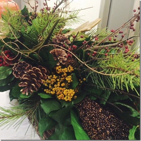 pinecones and flowers centerpiece