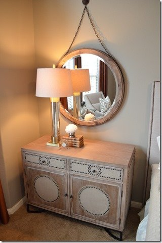 Nightstand, after, circle mirror, nailheads on chest