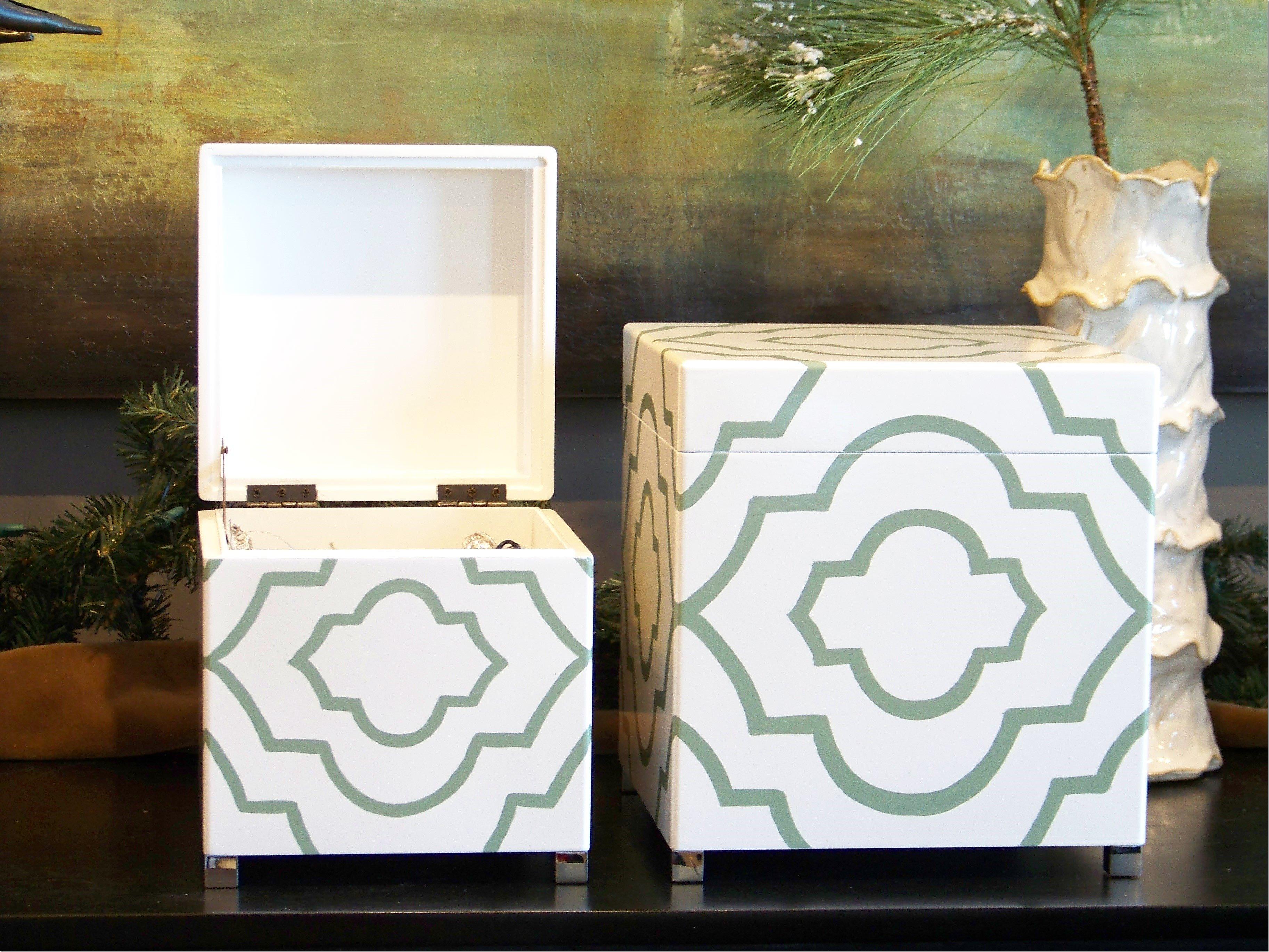 aqua lacquered boxes