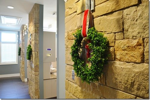 hallway of wreaths