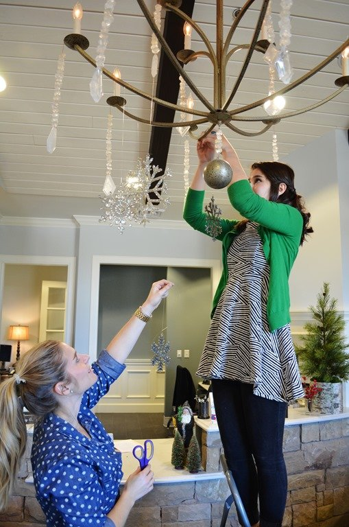 3 quick easy holiday decorating ideas heather scott for Hanging ornaments from chandelier