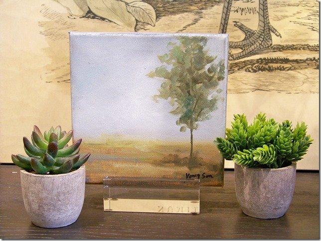 misty tree painting canvas