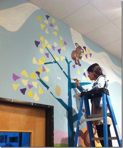 painting a tree on wall mural