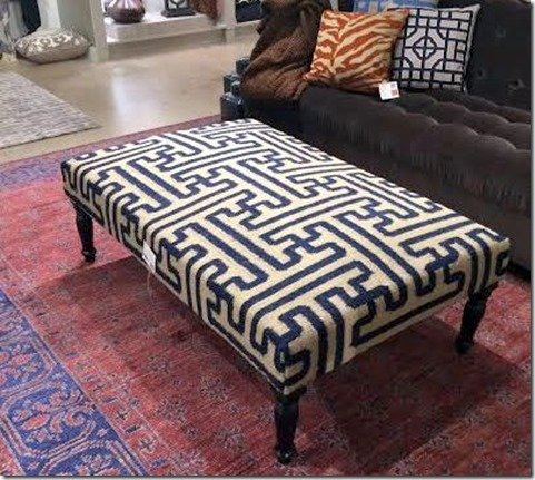 blue patterned ottoman