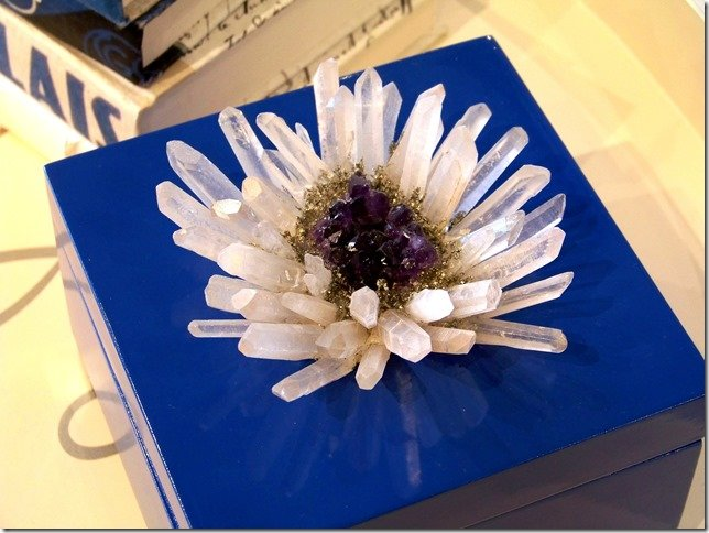 cobalt blue jewelry box with quartz