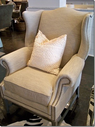 wing chair with modern fabric