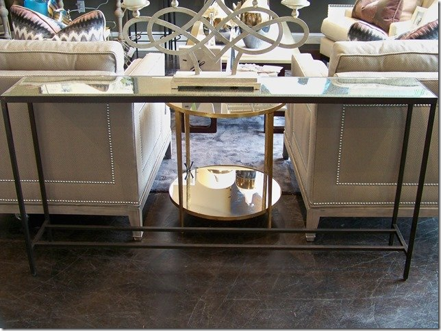iron console with antique mirror