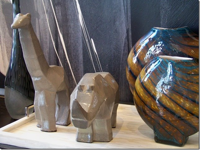 ceramic giraffe and rhino, cubism