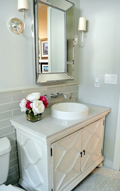 Before after a classic small bath update heather - Pictures of small bathroom remodels ...