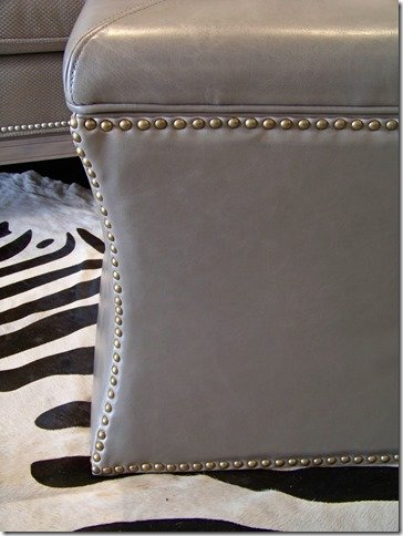 grey leather storage ottoman