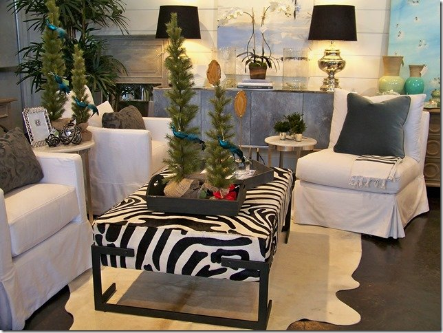White Chairs and Zebra Ottoman