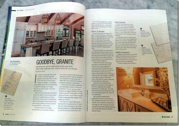 usa today article on quartz countertops