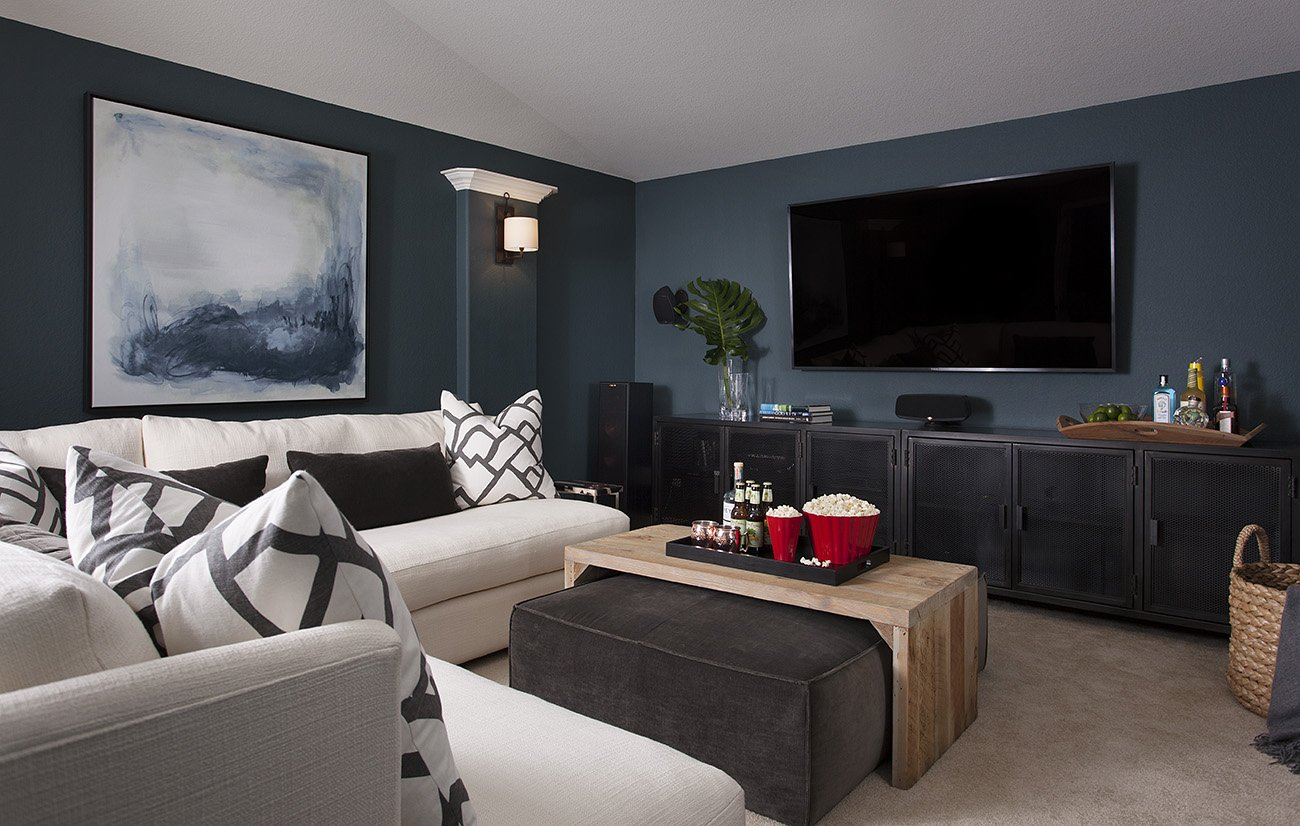 Before after cozy media room heather scott home design for Furniture for media room