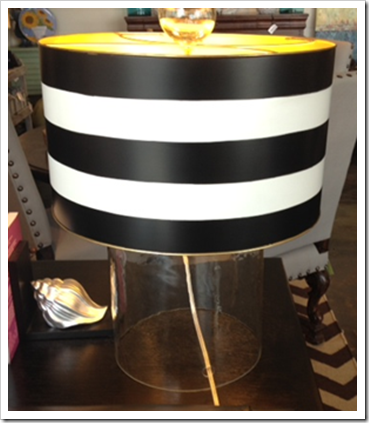 Whats new wednesday striped shade lamps heather scott home the clear blown glass lamp base and ball finial add a clean and simple touch to the special hand painted black white striped metal shade mozeypictures Image collections