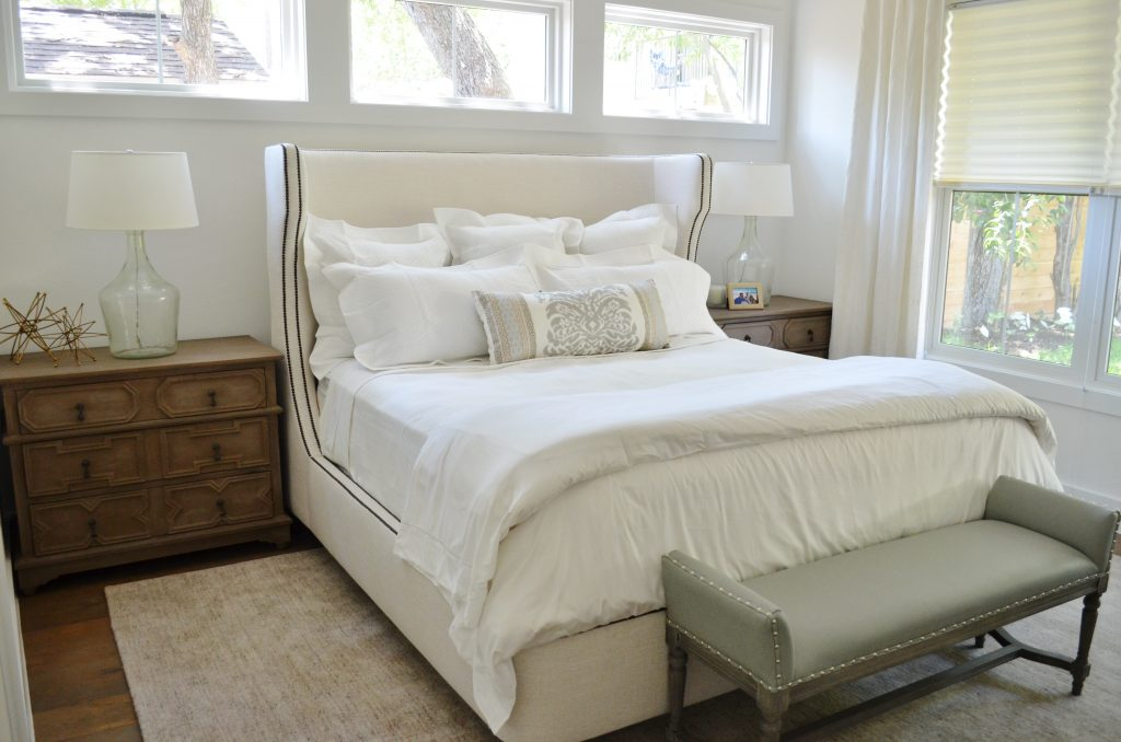 white modern master bedroom. We Used The Same Fresh, White Wall Paint Throughout House (Benjamin Moore Chantilly Lace OC-65). This Room Also Got Airy Linen Drapery Panels And Modern Master Bedroom