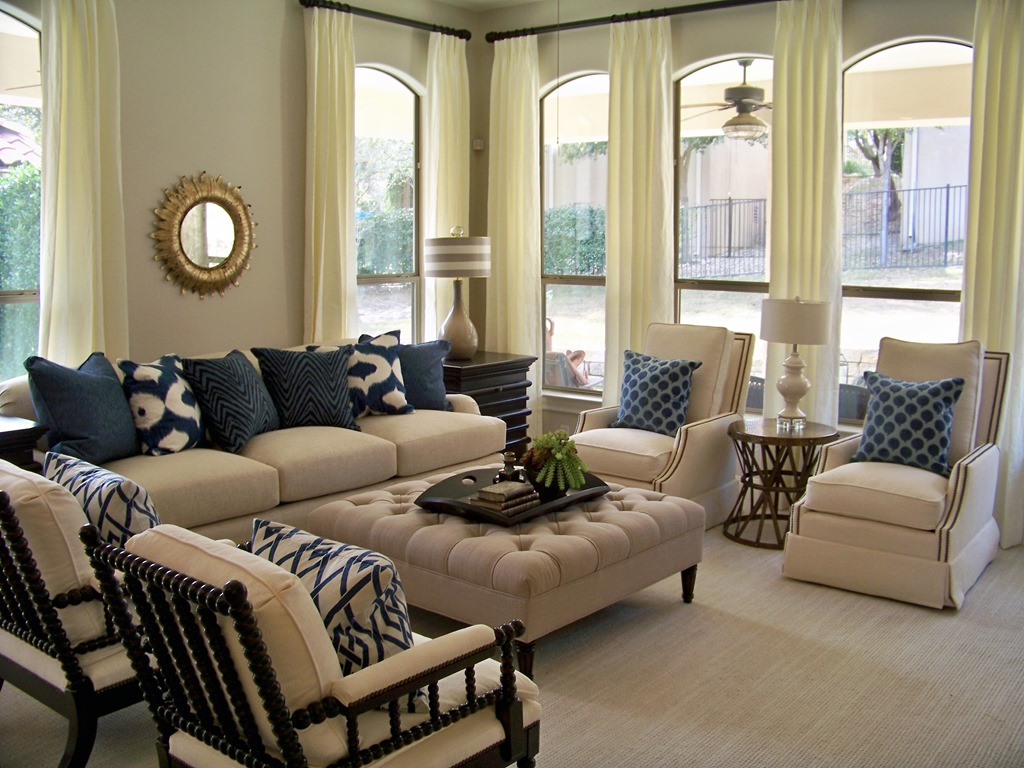 Navy Sofa Gold Country Chic Living Room