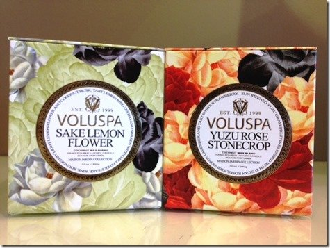 Voluspa candles Yuzu Rose Stonecrop and Sake Lemon Flower at Heather Scott Home & Design