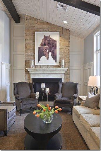 Dental office lobyy with fireplace