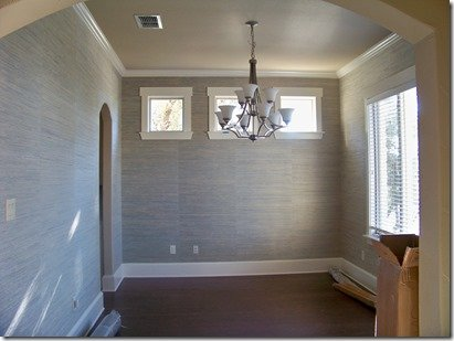 DIning room with wallpaper