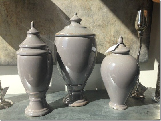 gray and lavendar set of canisters
