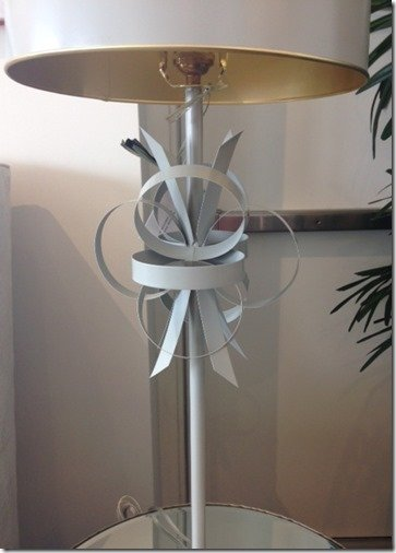 hand worked metal lamp gray and gold