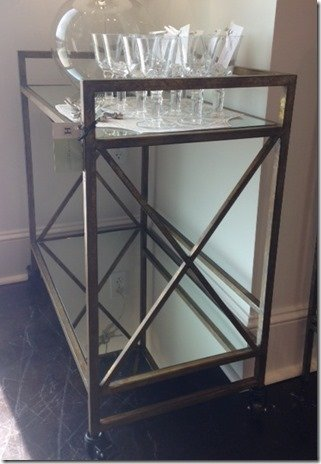 mirrored bar cart, aged gold