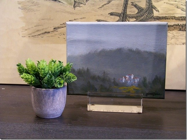 misty tree table top canvas