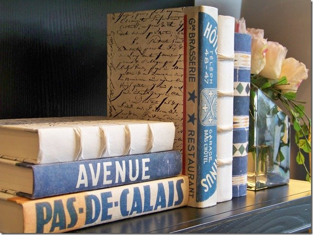 decorative bound blue books