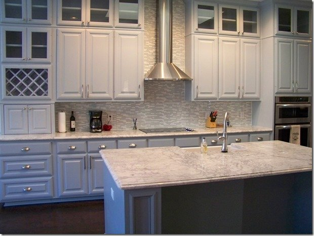 painted cabinets, stove view
