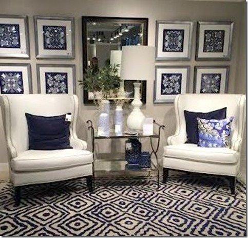 blue patterned large rug