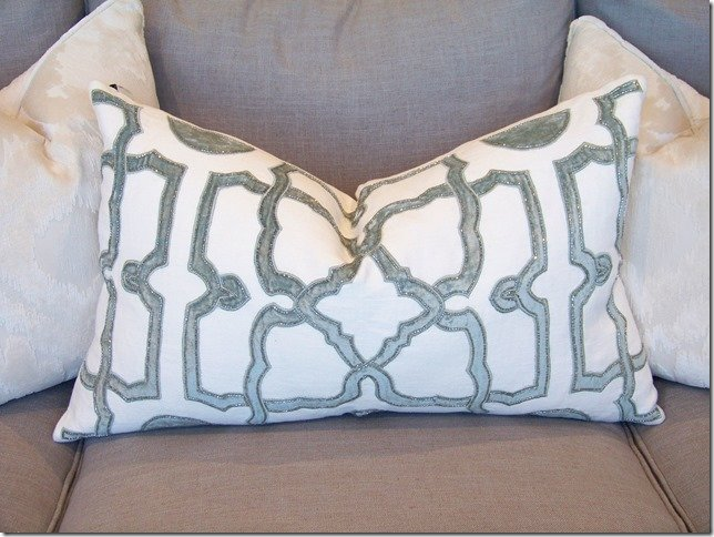 close up of velvet applique pillow