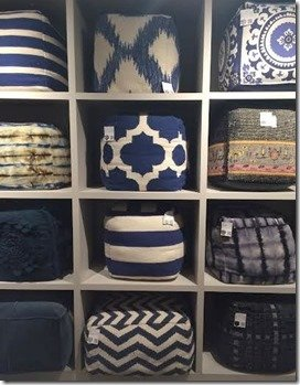 poufs in blue in white