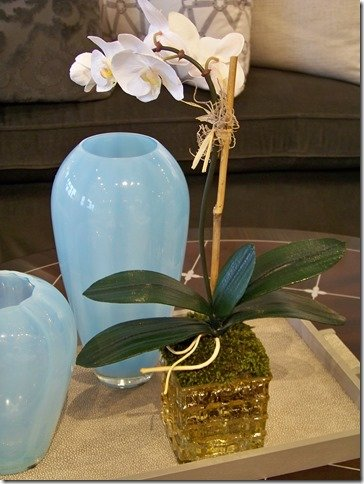 orchids in mercury glass