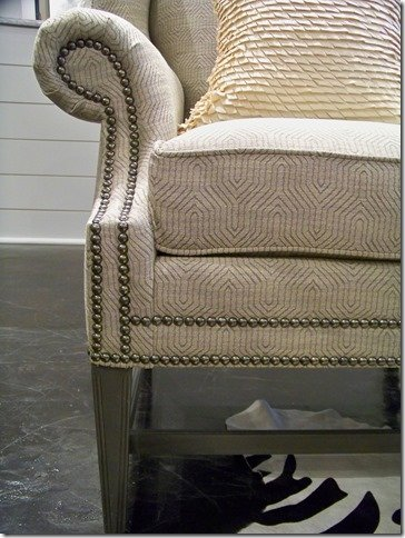 close up of wing chair and nailheads