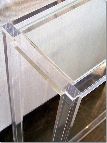 inset glass top on acrylic console