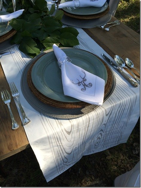 table runner and monogrammed napkins