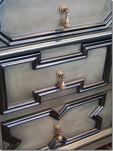pale finish dresser, close up