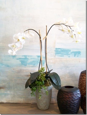 orchid with hanging jade