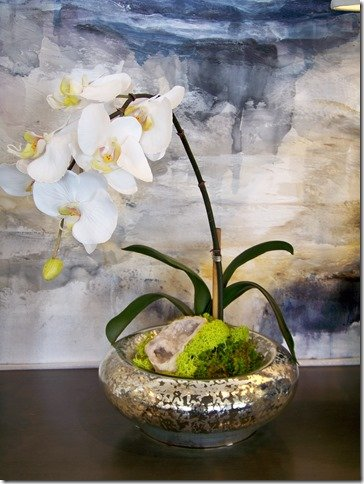 orchid in mercury glass with geode